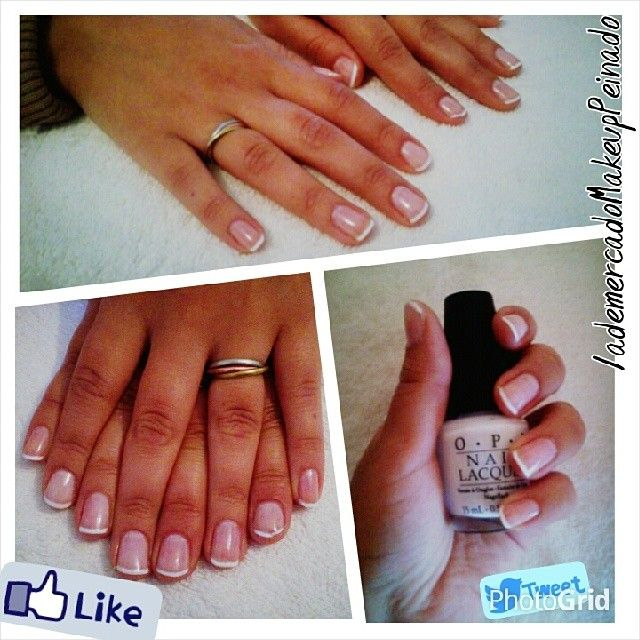 Manicure para las manitos de Estefi,francesitas con esmaltado #OPI #Makeup #nails #beauty #love!