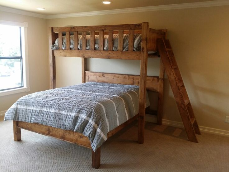 Perpendicular twin bunk over queen.  • From parkcitybunkbeds.com. • Delivered to Horseshoe Bay Texas.