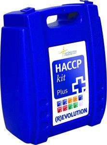 Een HACCP verbandtrommel, met de benodigde detecteerbare verbandmiddelen en pleisters