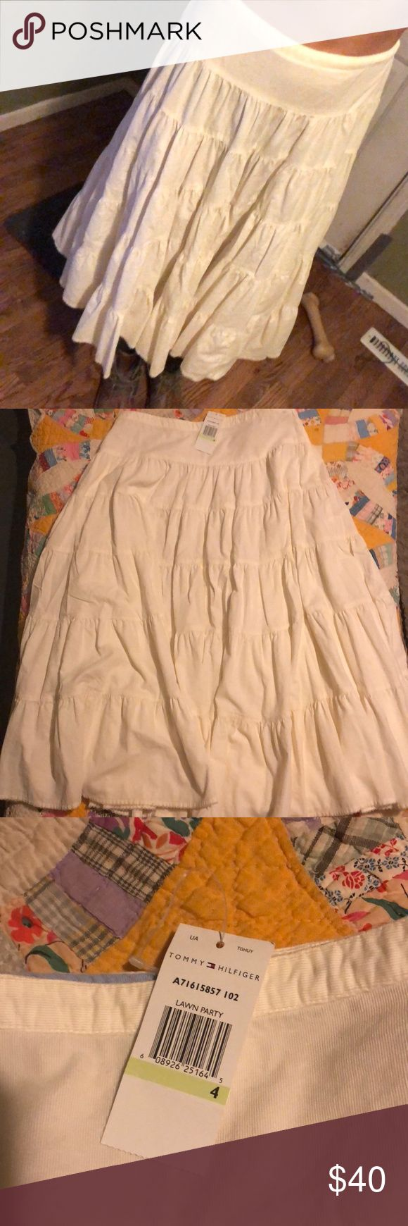 Beautiful Ivory Tommy Hilfiger long skirt Soft corduroy long skirt! 2002 is on the tag! Love love love it! Tommy Hilfiger Skirts A-Line or Full