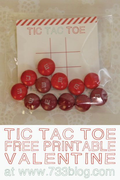 Tic Tac Toe Valentine - Free Printable. Nice gift for school.