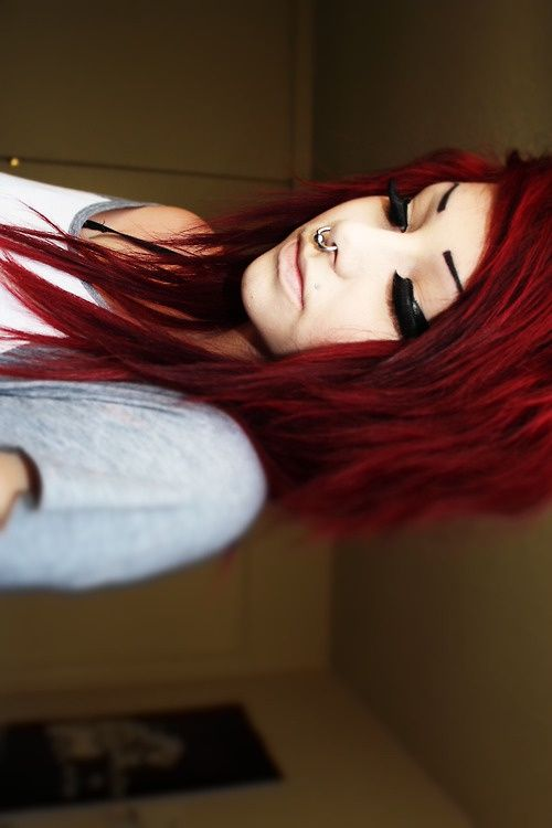 Red Hair.♥ The PERFECT shade of red... not too bright but still edgy