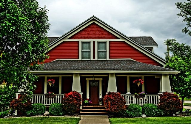 Red craftsman home arts crafts bungalow craftsman for Arts and craft homes