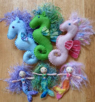 seahorses and mermaids #feltcrafts