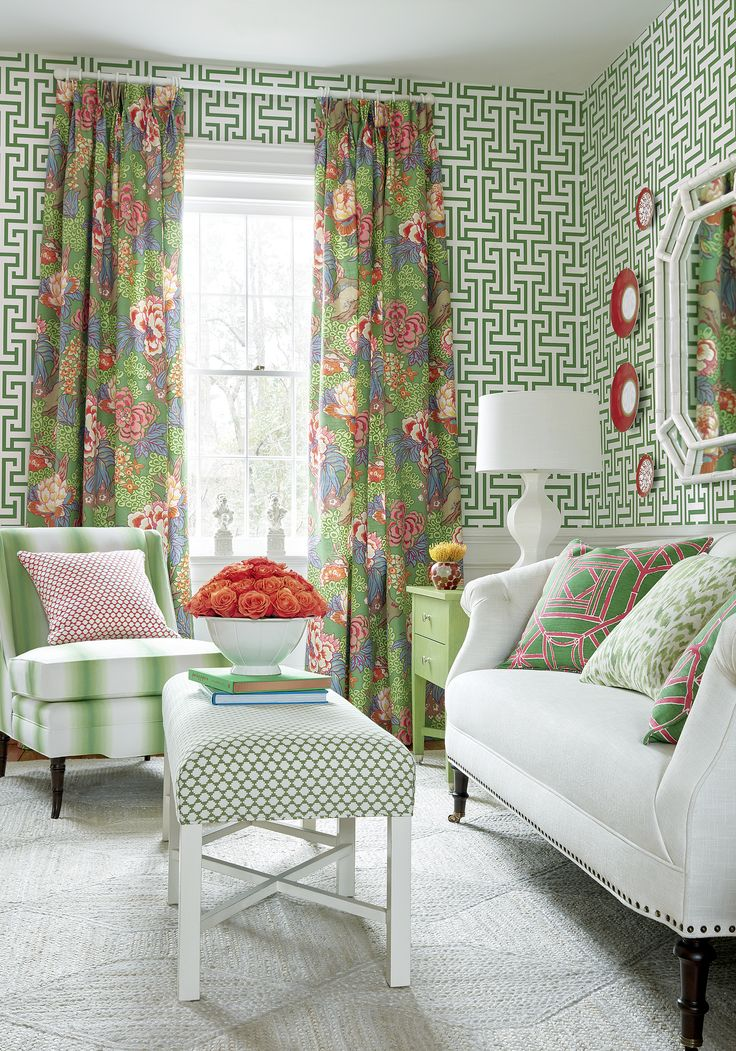 Living Room Drapes, Pillows And Wallpaper From Thibaut Honshu U0026 Ming Trail  Dynasty Collection