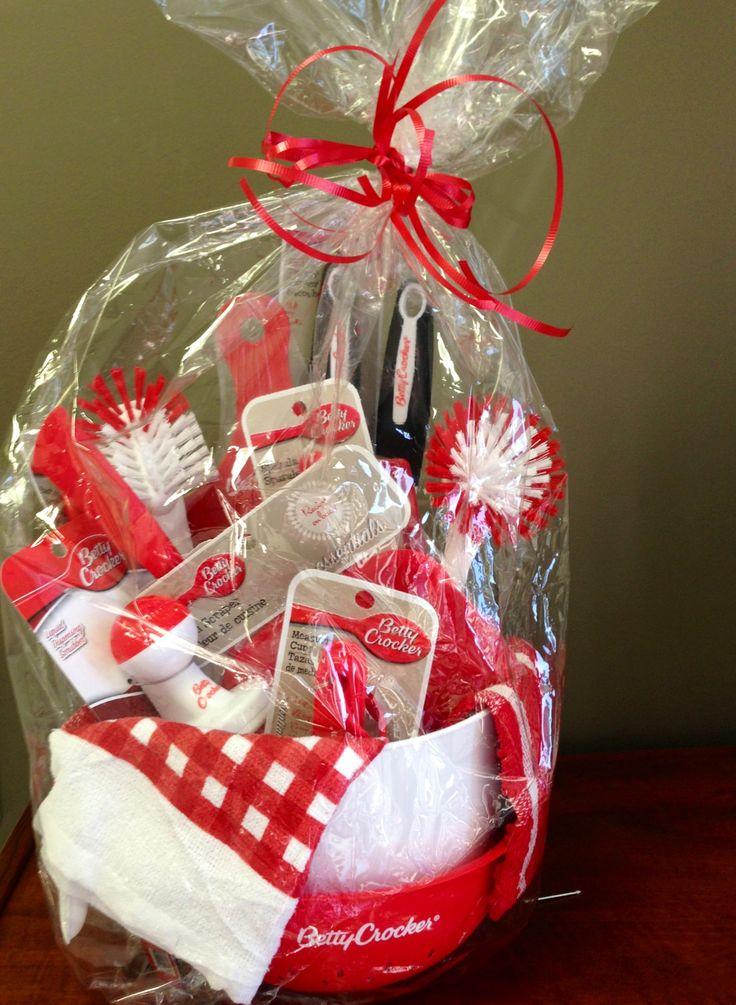 Kitchen gift basket from the dollar tree gift ideas for Holiday party gift ideas for the hostess