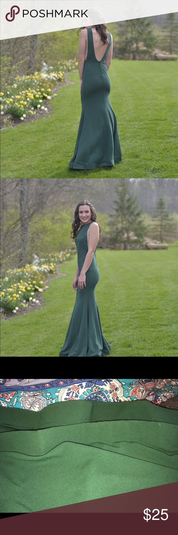 """Windsor Prom Dress Emerald green prom dress. High neck with low back :) tight through waist then flares towards bottom. I'm 5'7"""" and was able to wear heels with this dress. size 0, price negotiable ! Only worn once, gently used. Last pic shows snags at very bottom (not noticeable) the sides also have a tan/sheer material Windsor Dresses Prom #tanpromheels"""