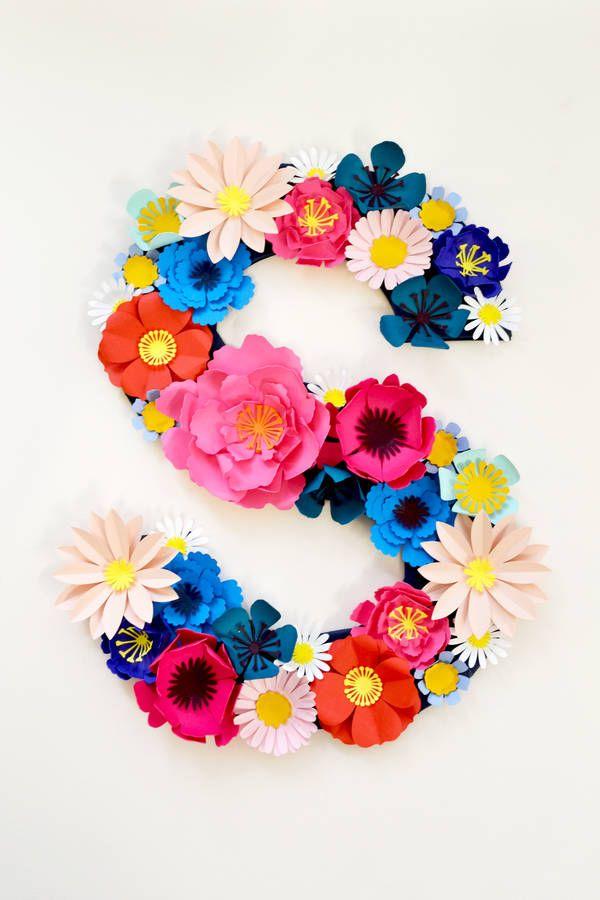 Handmade Paper Flower Initial