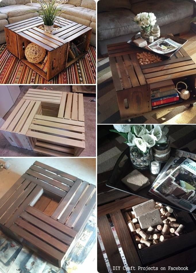 Coffee table made with recycled fruit boxes.