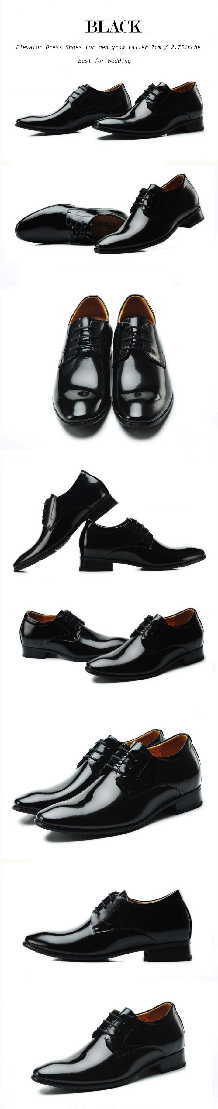 High quality leather men's elevator business dress shoes height increasing 7cm / 2.75inches wedding shoes