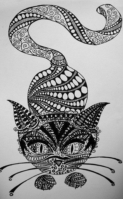 uses of different shapes and zentangle like qualities to make a cat