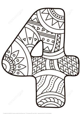 Number 4 Zentangle coloring page from Zentangle Numbers category. Select from 21159 printable crafts of cartoons, nature, animals, Bible and…