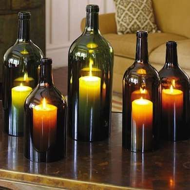 Wine Bottle Hurricane Lamps - Wine Bottle Crafts - 10 New Uses for Old Bottles - Check out winebarrel.org for an easy glass cutting technique