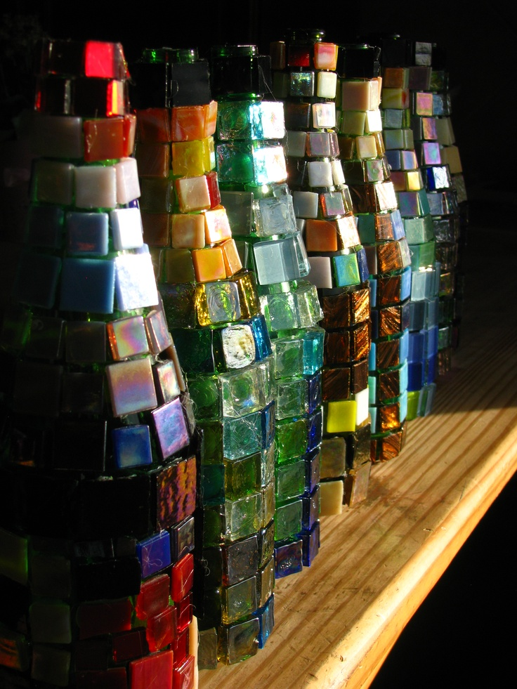 sparkling cider bottles and created mosaics on