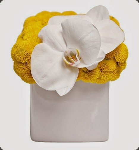 Yellow button mums and white phalaenopsis orchid flower arrangement by floral art #yelowwhite #flowerarrangement #phalaenopsis