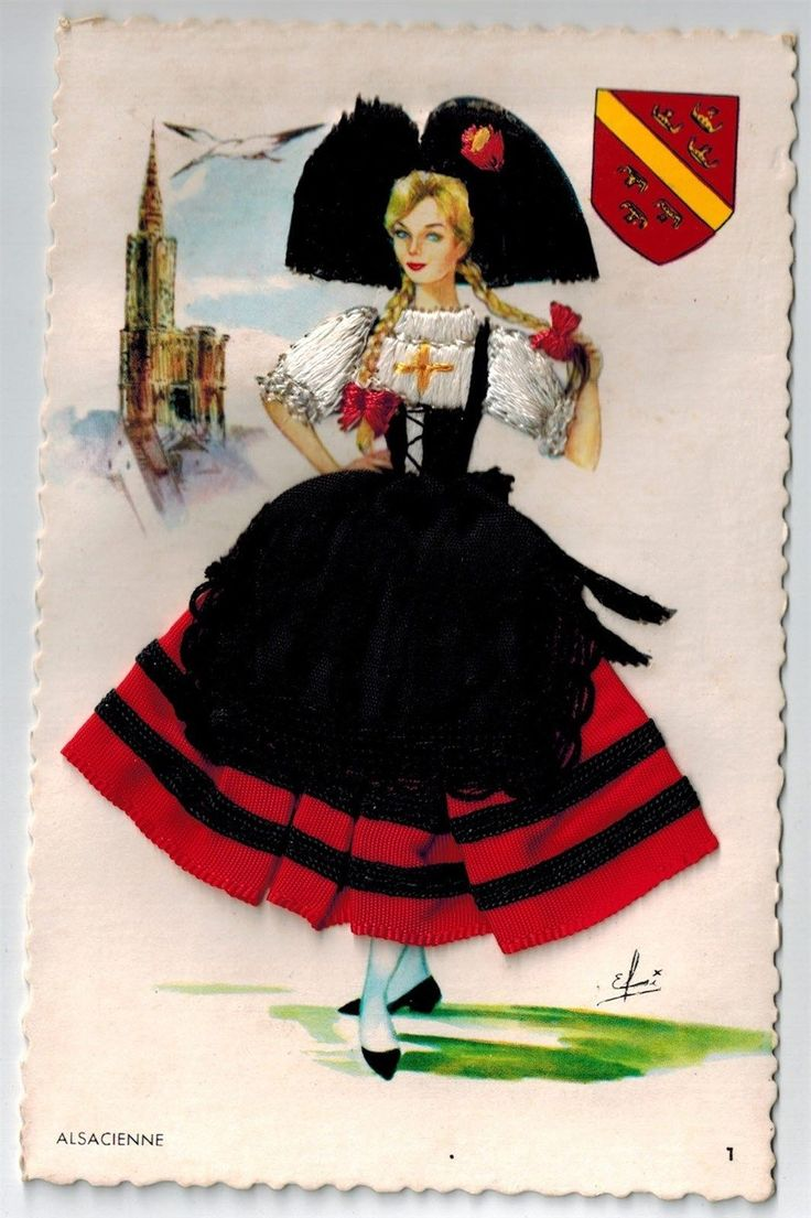 A girl from alsace, card n°1, background : Strasbourg cathedral