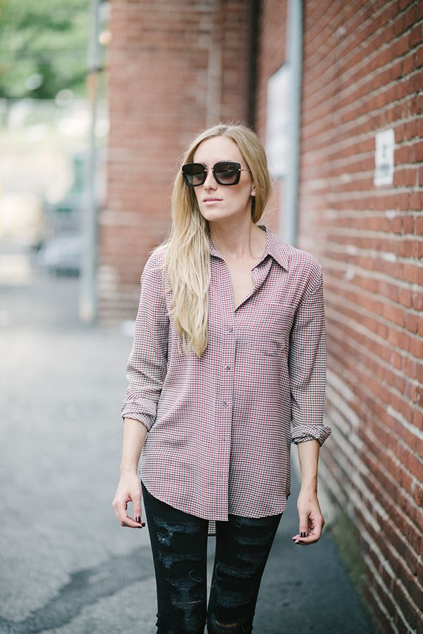 houndstooth silk top
