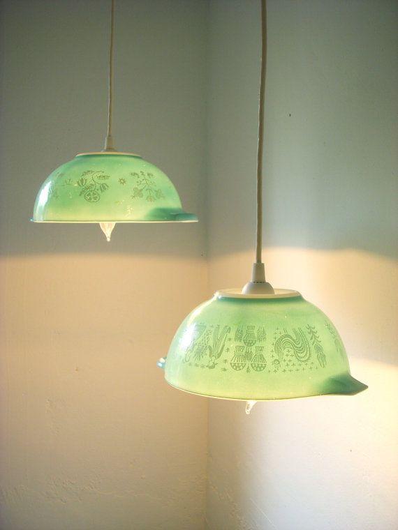 Vintage pyrex mixing bowls, made into pendant lights. Fantastic idea! #kitchen #design #lighting #vintage #retro #pyrex