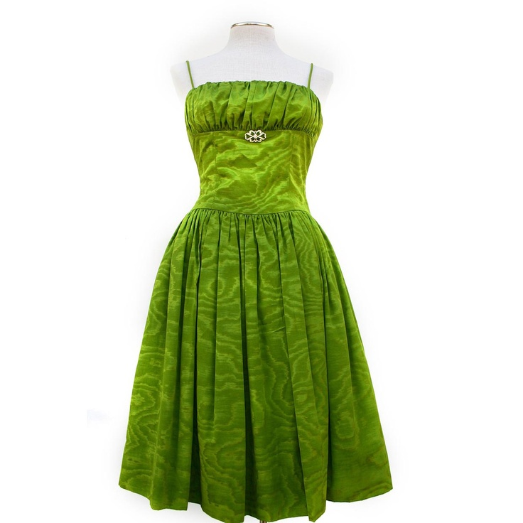 '80s Green Moire Cocktail Dress