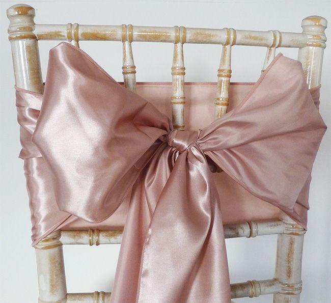 Satin Chair Sash Rose Gold Rose Gold Wedding Decor Wedding Rose Gold Theme Rose Gold Chair