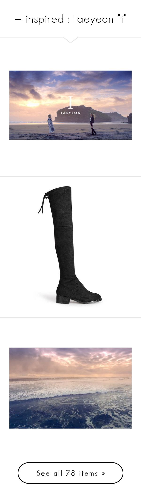 """""""— inspired : taeyeon """"i"""""""" by frealbird ❤ liked on Polyvore featuring kpop, taeyeon, kpopinspired, shoes, boots, black, yoins, black suede knee high boots, black over-the-knee boots and over-the-knee high-heel boots"""