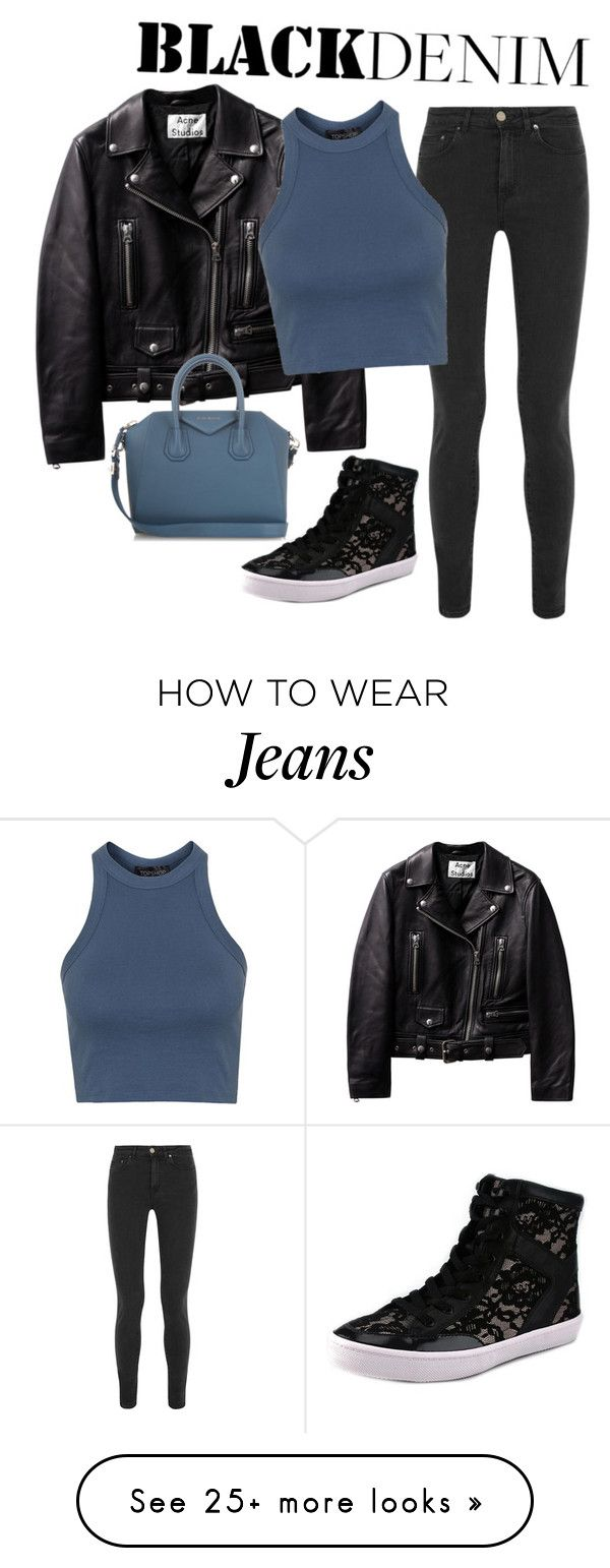 """black denim jeans"" by clairejagus on Polyvore featuring мода, Acne Studios, Rebecca Minkoff, Givenchy, Topshop, women's clothing, women's fashion, women, female и woman"