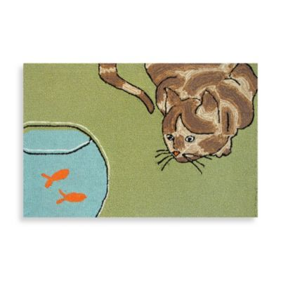 Trans-Ocean Frontporch Curious Cat 1' 8″ X 2' 6″ Indoor/outdoor Rug Gree…