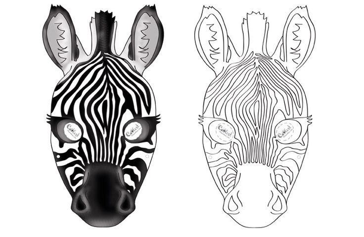 We've created a black and white Zebra mask and colored Zebra mask, choose your preference. Then cut all around, cut holes for the eyes, and punch a ...
