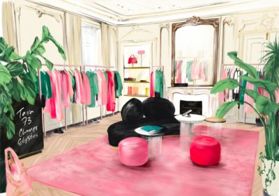 Illustration by Spiros Halaris for the re-opening of the Tara Jarmon boutique at the Champs Elysées.