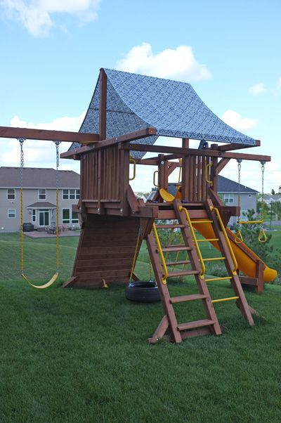 DIY Playset Canopy. Good-Bye Boring Green...Hello Lovely!  Doing this one.