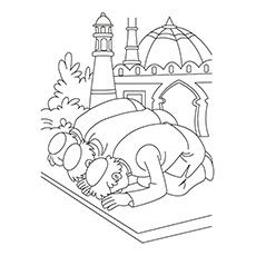 Ramadan Coloring Pages - Eid Namaz