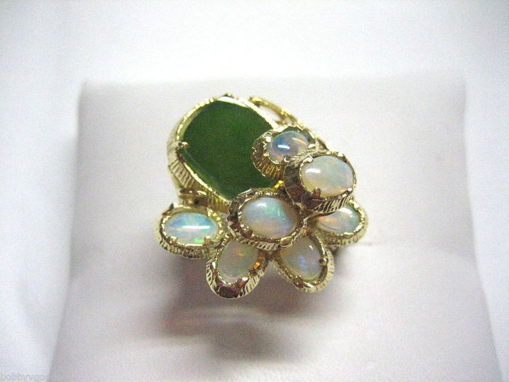 VINTAGE 18K YELLOW GOLD 7 OPAL STONES & 1 JADE HANDCRAFTED FASHION RING SIZE 6.5 #YellowGold