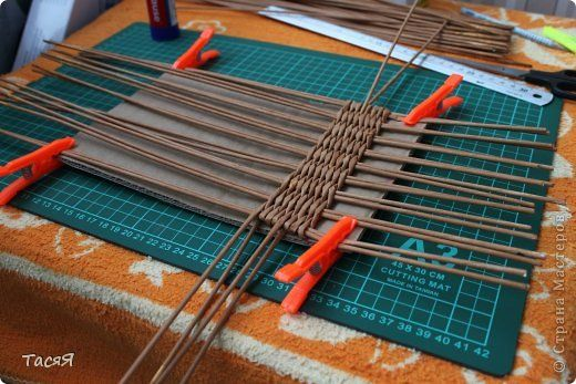 Поделка изделие Плетение Пробуем прямоугольное плетеное дно  3-месячной…