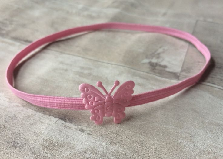 Baby Girl Pink Butterfly Headband by prettybowsuk on Etsy