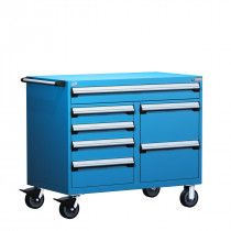 Rousseau Metal GT Automotive Mobile Toolbox (Tool Chest): Drawer Cap. (lb.):400 // No. Drawers: 5 // Width (inches): 48 // Height (inches): 37 1/2 //  Depth (inches): 27 // Net weight (lb.): 406.17 // Material: Painted steel