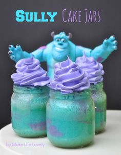These DIY Monsters Inc. Cake Jars are incredible! These cake jars are so delicious and simple and, get this, can be made with jars you have lying around the house! These would be a perfect surprise for a birthday party, or even for those movie nights with the family! We definitely recommend this sweet treat.