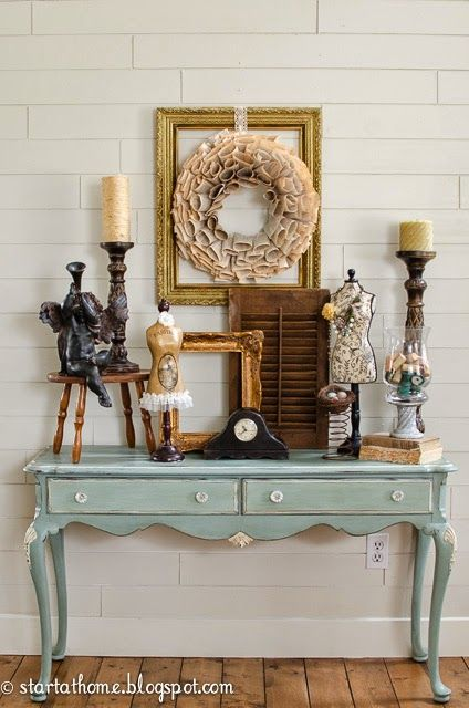 Start at Home: Decorating with Chalk Paint Table ASCP Duck Egg Blue.