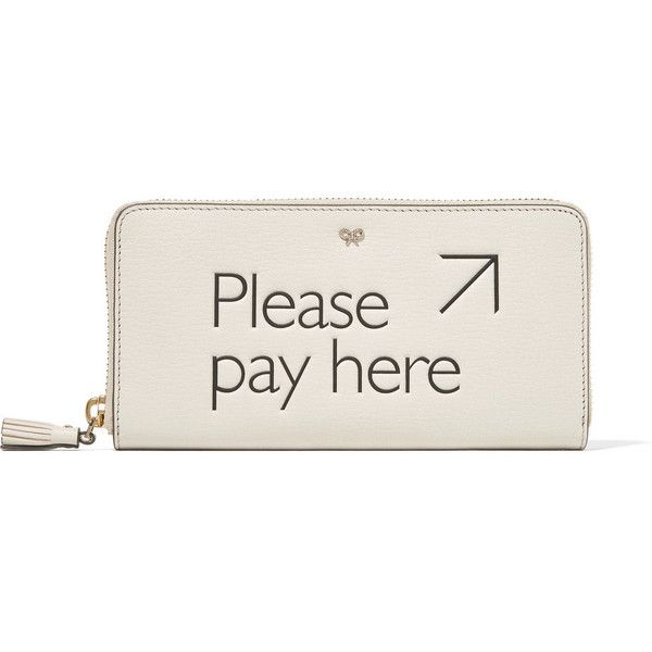 Anya Hindmarch Please Pay Here textured-leather continental wallet (5.541.210 VND) ❤ liked on Polyvore featuring bags, wallets, zipper bag, anya hindmarch bags, anya hindmarch tote bag, anya hindmarch wallet and zip tote bag