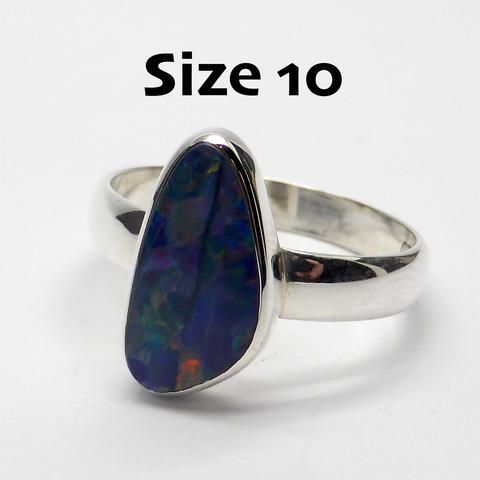 Opal Doublet Ring | 925 Sterling Silver | Freeform Stone | Size 10 | Red Flash | Crystal Heart Melbourne Australia since 1986
