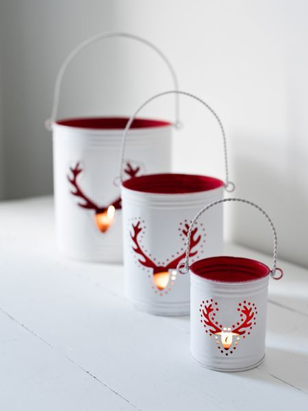 Reindeer Hurricane Lanterns - Nordic House