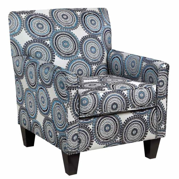 Incognito Blue Medallion Patterned Accent Chair | Weekends Only Furniture  And Mattress