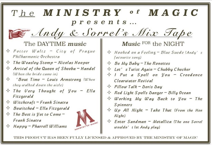 The mix tape CD which was sent to all guests with a thank-you card - what a great response it got! From Sorrel & Andy's Harry Potter Wedding. Sorrel owns and runs Ambience Venue Styling North  Lancashire.