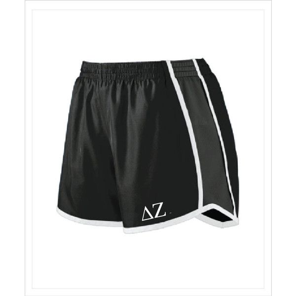 Delta Zeta Dz Sorority athletic/running Shorts With Greek Letters (£19) ❤ liked on Polyvore featuring activewear, activewear shorts, black, shorts, women's clothing and athletic sportswear
