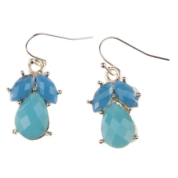 Bib Necklace Cyan Blue Irregular Artificial Stone Mini Faceted Bubble Marquee Bib Statement Alloy Earrings with Necklace Discount Online Shopping