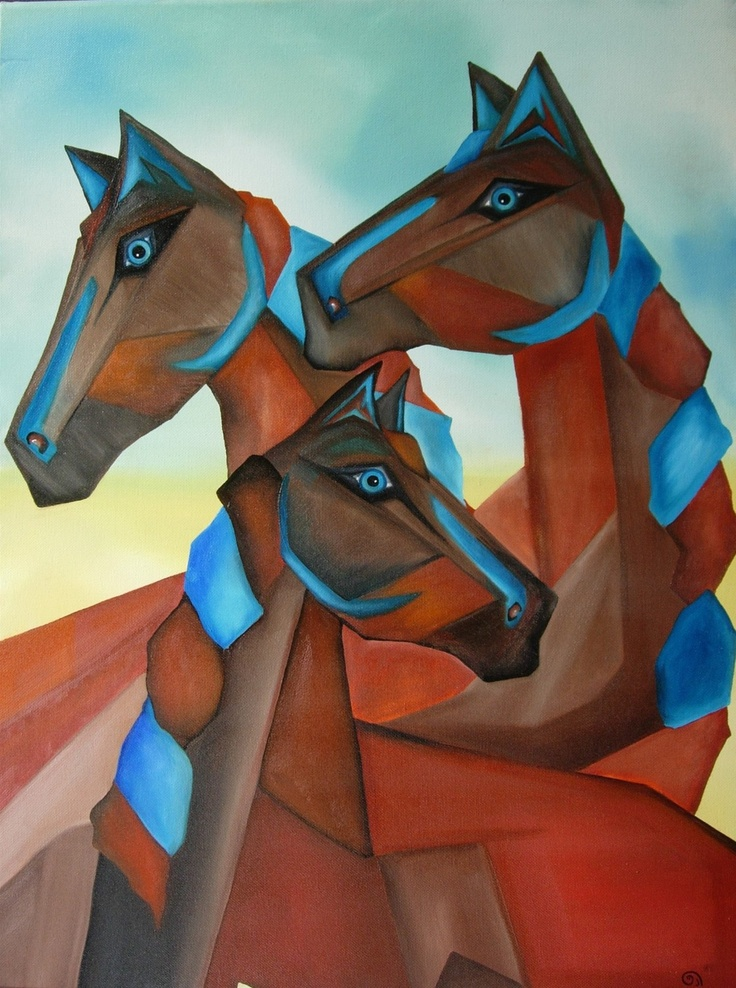 "Love the ""cubist"" look and Earthy Browns and Blue hues in this!!   ""Horses of Madrid"" by Gina Edwards."