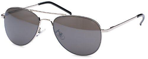 silber Sonnenbrille Pilotenbrille für schmale Köpfe und Gesichter mit Federbügeln + Brillenbeutel Fliegerbrille