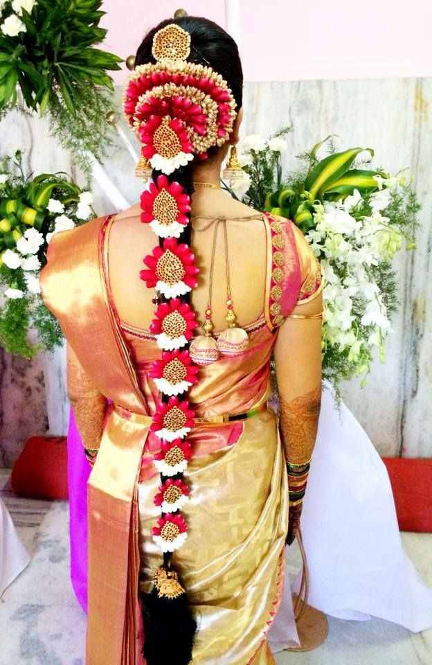 indian wedding hairstyle gallery%0A Traditional Southern Indian bride u    s bridal braid hair  Hairstyle by Swank  Studio  Find us at