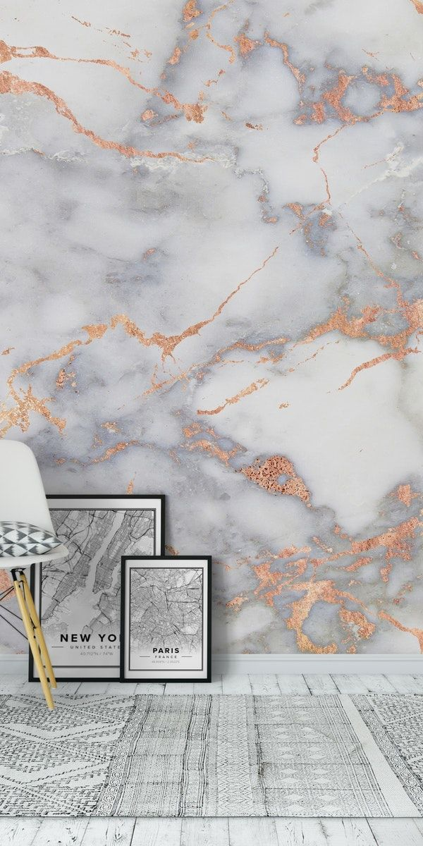 Metal Rose Gold Veins On Gray Marble Wall Mural From Happywall Wallpaper Nature Bohemian Rock Ombre S Marble Wall Mural Wall Murals Gold Marble Wallpaper