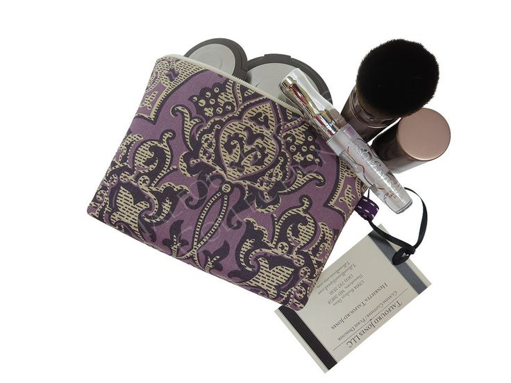 Purple Damask X-Small Makeup Bag - Travel Cosmetic Pouch - Knitting Notions - Purse Makeup Bag - Downton Abbey Fabric - Ladies Gift by TalfourdJones on Etsy