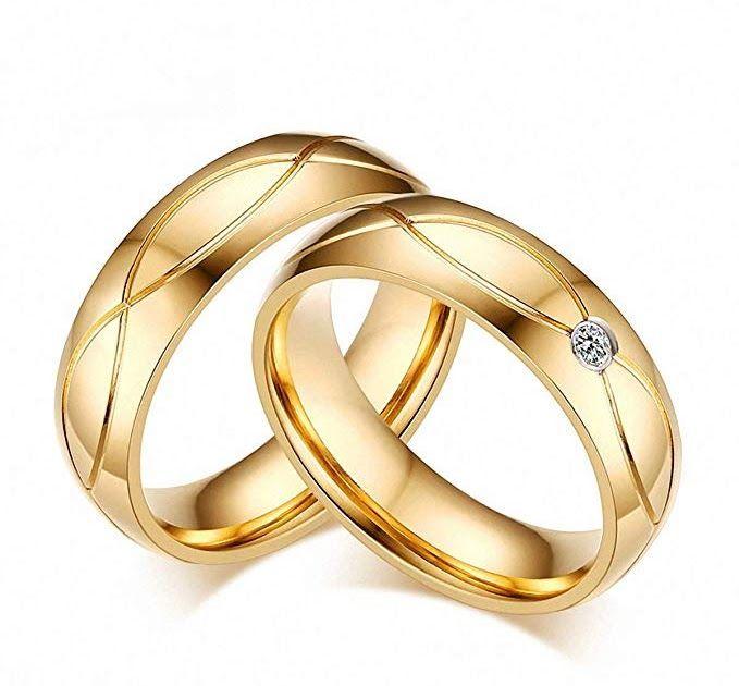 Amazon Com Wedding Bands Rings Women Men Gold Stainless Wedding Band Men Gold M Amazon Com Wedding B Wedding Ring Bands Couple Rings Gold Band Rings Women